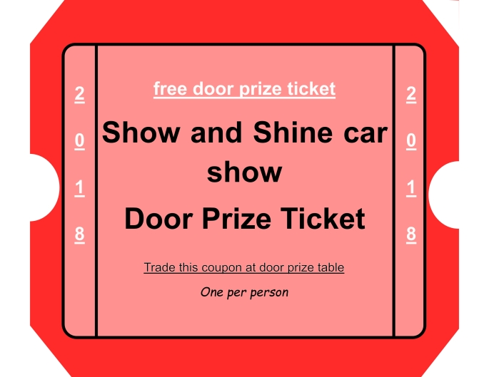 Show and Shine Door Prize Coupon 2018