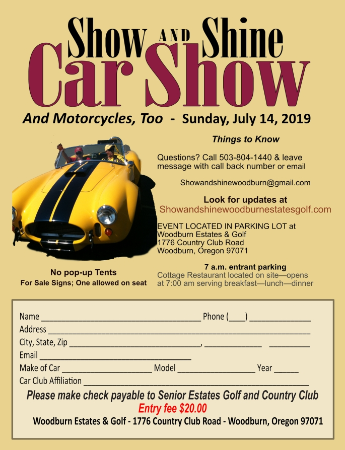 Show and Shine Registration 2019 with payable to SEGCC