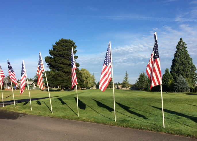 2019 - 00 - Flags ready for car show July 12, 2019