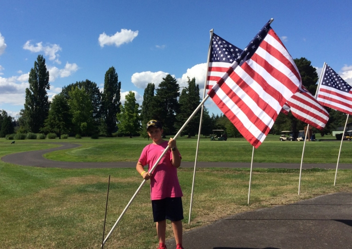 2019 - 000 2 - Car show flags put up on July 11, 2019